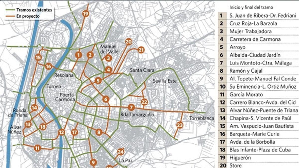 Carril Bici Sevilla Mapa.La Upo Logra El Carril Bici Con Un Ano De Retraso Y Sin Servicio De Alquiler