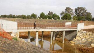 Una de las cuatro pasarelas construidas sobre el nuevo cauce del Tamarguillo.  Foto: Victoria Hidalgo