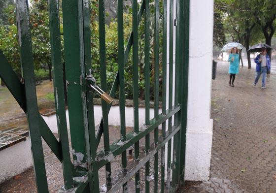 Parque de María Luisa cerrado por el temporal.  Foto: Juan Carlos Vázquez