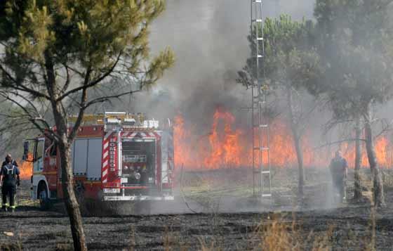 Los bomberos tratan de controlar el fuego.  Foto: B. Vargas