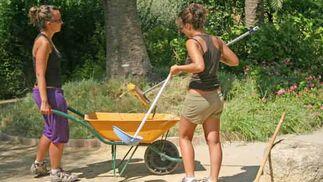 Trabajos de cultivo en el jardín.  Foto: Belén Vargas