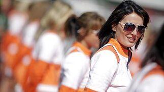 Una de las azafatas del Gran Premio de Bélgica.  Foto: Afp Photo / Reuters / Efe