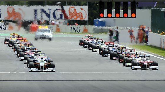 Salida del Gran Premio de Bélgica en el circuito de Spa.  Foto: Afp Photo / Reuters / Efe