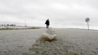 El hielo se concentró en la carretera de Guillena.  Foto: Juan Carlos Muñoz, Manuel Gómez, Antonio Pizarro