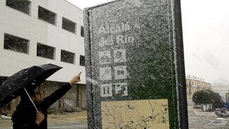 Nieve caída en Alcalá del Río.  Foto: Juan Carlos Muñoz, Manuel Gómez, Antonio Pizarro