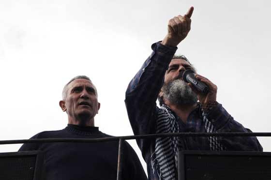 Cañamero y Sánchez Gordillo en su intervención en Arcos  Foto: Aguilar