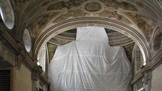 Visita a las obras de restauración de la iglesia de San Luis de los Franceses.  Foto: Victoria Hidalgo