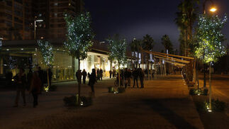 La zona comercial de Muelle Uno la noche de su primera apertura  Foto: Javier Albiñana