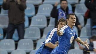 Casquero celebra el tanto de la victoria getafense. / EFE