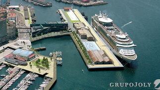 Recreación virtual del puerto para cruceros de Vigo que potencia el uso público de las inmediaciones haciéndolo compatible con las actividades portuarias.