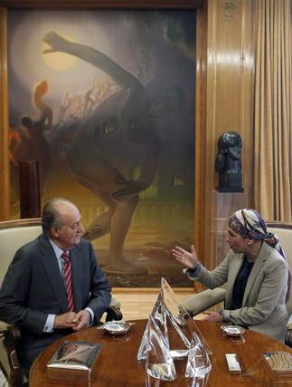 El rey y Uxue Barkos, durante su encuentro en el Palacio de la Zarzuela  Foto: EFE