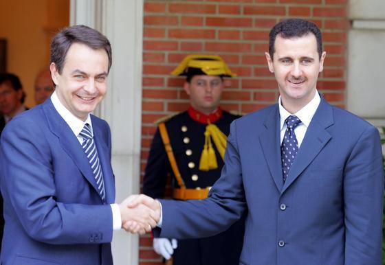 2 de junio de 2004: Zapatero recibe al presidente sirio, Bashir Al-Assad.  Foto: AFP