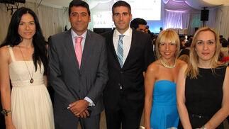 Carmen Perea, Luis Cordero, Miguel Ángel Alés, Mamen Marchena y Mercedes García, de la Cámara de Comercio de Sevilla.  Foto: Victoria Ramírez