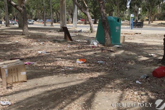 Otra imagen de la suciedad y los restos esparcidos por el suelo del parque, con un contenedor al frente  Foto: Paco Guerrero