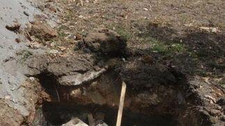 Otra imagen de los restos en un agujero.  Foto: Paco Guerrero