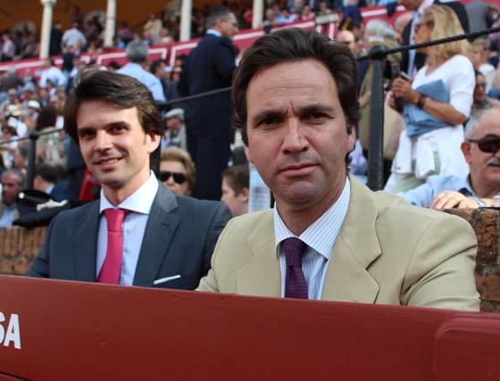 José Antonio Salas y el ganadero de Núñez del Cuvillo Álvaro Núñez Benjumea.  Foto: Victoria Ramírez