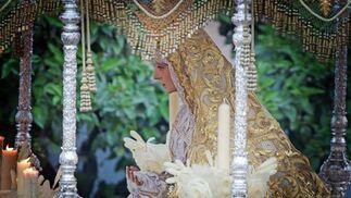 Madre de Dios de la Misericordia, en su característico palio de tonalidades claras.  Foto: Manuel Aranda