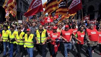 Manifestación del Primero de Mayo en Barcelona.  Foto: EFE
