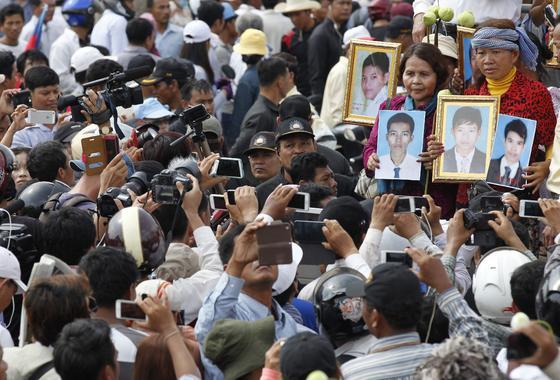 Manifestación del Primero de Mayo en Camboya.  Foto: EFE