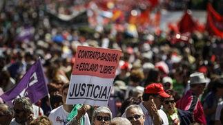 Manifestación del Primero de Mayo en Madrid.  Foto: EFE