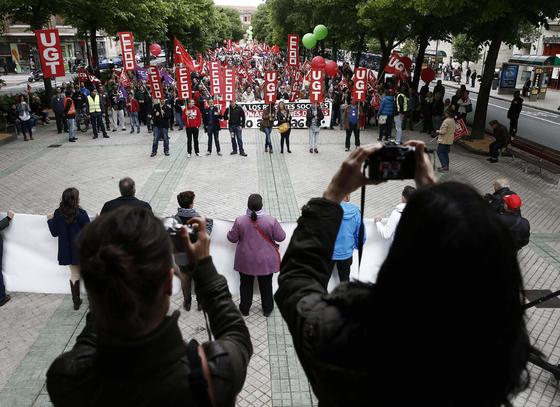 Manifestación del Primero de Mayo en Pamplona.  Foto: EFE