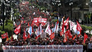 Manifestación del Primero de Mayo en Vigo.  Foto: EFE