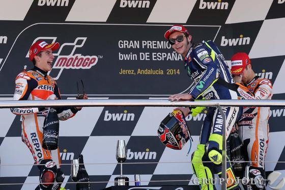 Podio de MotoGP con Márquez, Rossi y Pedrosa.  Foto: Manuel Aranda