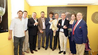 Ángel Gutiérrez, Javier Gutiérrez, de Volapié; Víctor Santos y David Fernández, director general y responsable de 'Beer and Food'; el abogado Juan Rodríguez, Juan Carlos Catalán, de Analiser; Maribel Castro de Alta Cazuela; y el hostelero jerezano Faustino Rodríguez.