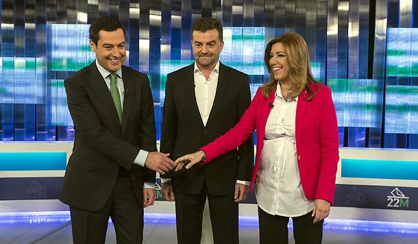 Juanma Moreno, Antonio Maíllo y Susana Díaz en el debate a tres de Canal Sur. / Foto: Antonio Pizarro