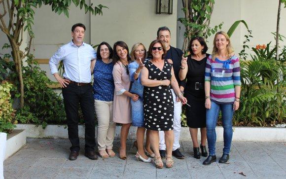 Paco Gómez, Begoña Díaz, María de los Ángeles Ramírez, Marisa Galindo, Maribel Pica, Paco Gutiérrez, Pilar Yélamo y Loles Díaz.  Foto: Ignacio Casas de Ciria