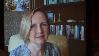 La autora, María Zöe Fairtlough, durante su intervención desde Filadelfia.  Foto: Ignacio Casas de Ciria