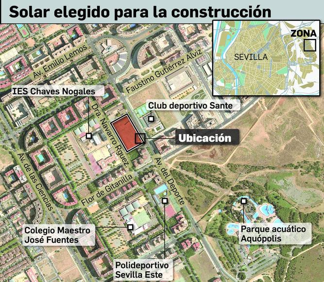 Infografía sobre el solar elegido para la construcción.