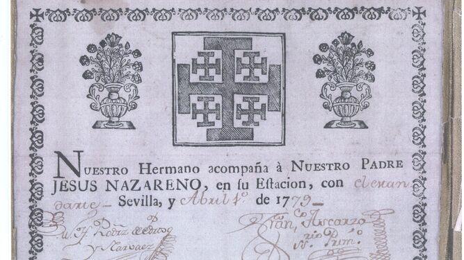 Papeleta de sitio de 1779.