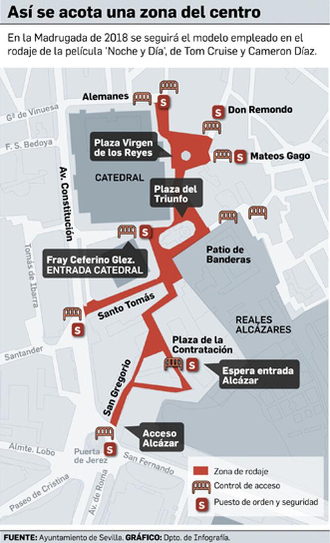Infografía sobre la posible acotación del centro para la próxima Madrugada.