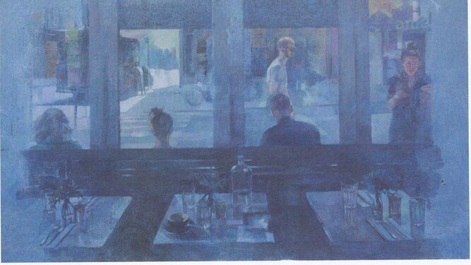 1. 'Siempre' (técnica mixta acrílico y óleo sobre lino) refleja a un padre junto a sus hijos. 2. 'Orchard' (técnica mixta acrílico y óleo sobre lino) plasma la necesidad de soledad del individuo.