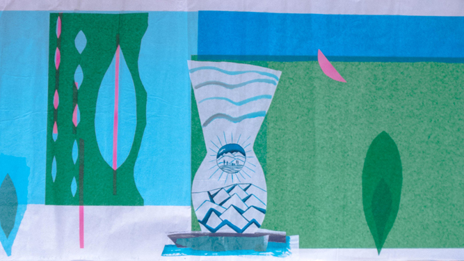 'Collage sobre papel de seda', una interesante pieza de Ybarra que se mueve entre el bodegón y  el paisaje.