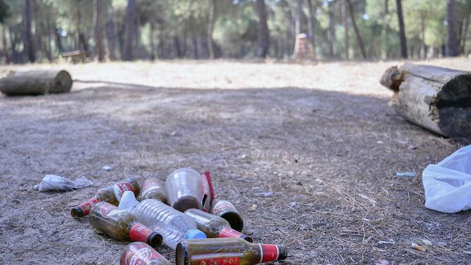 Una imagen de archivo de restos en una zona de acampada de Aznalcázar, antes de la limpieza manual.