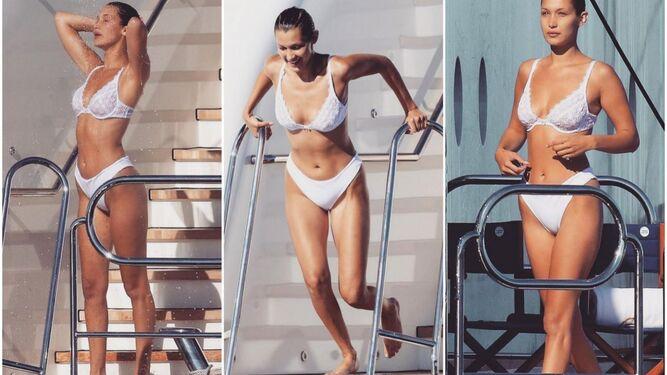 Bella Hadid con un bikini que bien podría ser ropa interior.