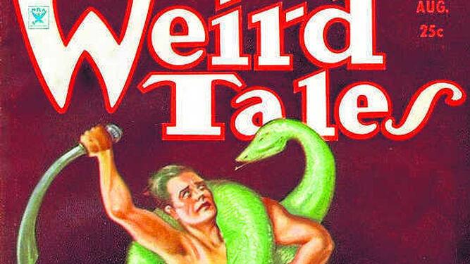 Portada del número de 'Weird Tales' de agosto de 1934, con Conan como protagonista del relato 'El diablo de hierro'.
