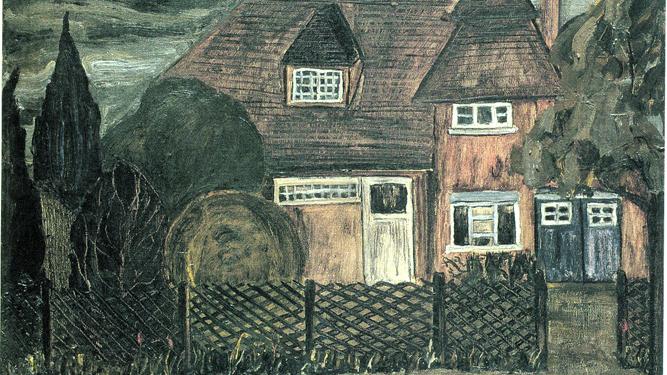 Detalle de 'Cambridge, la casa roja', 1962. Colección Fundación Cajasol.