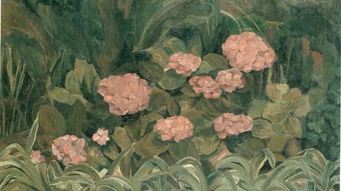 Detalle de 'Hortensias', 1966. Colección de la artista.