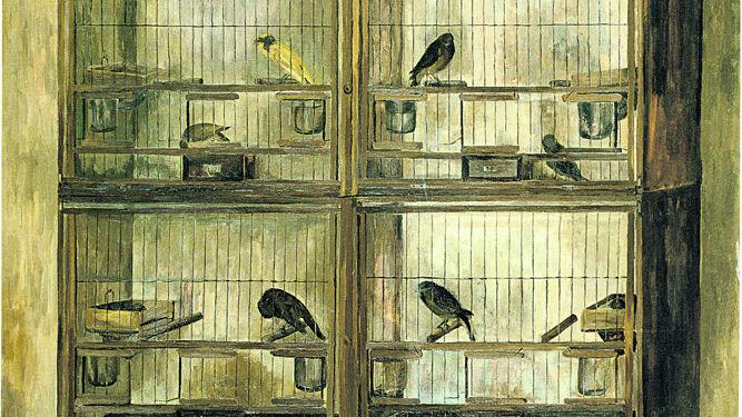 Detalle de 'Los pájaros', 1967. Esta obra fue incluida en la exposición que celebró en marzo de 1967 la galería La Pasarela. Fundación Cajasol.