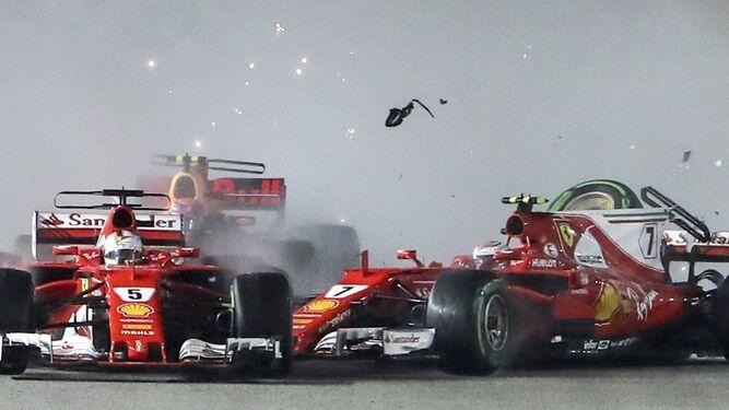 El accidente en el que se vieron implicados los dos Ferrari.