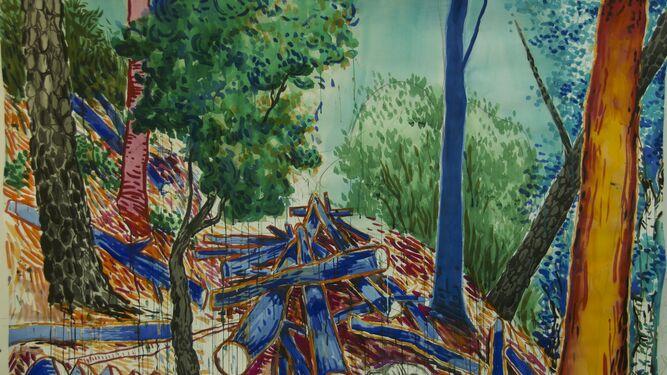 Imagen y materia. Distintas obras de la exposición 'El pelo de la hierba', en la que Abraham Lacalle (Almería, 1962) deja al espectador someterse a la magia del cuadro y recrearse con libertad en el proceso del trabajo pictórico.