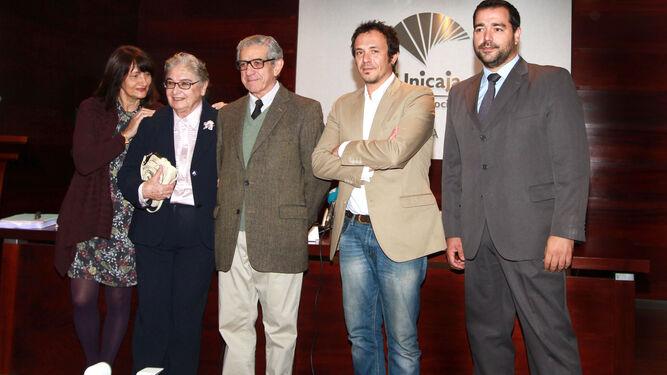 De izquierda a derecha, Valeria Ciompi, Nadia Consolani, Braulio Medel, José María González y Salvador Puerto, en el Centro Unicaja de Cultura.
