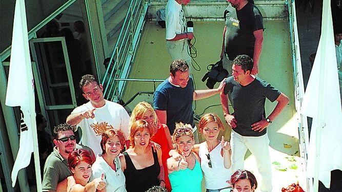 Los reporteros en un acto promocional en el verano de 2000.