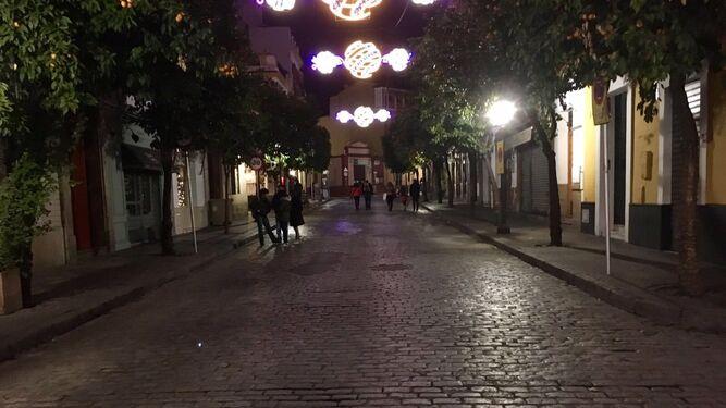La calle Mateos Gago, libre de coches, durante la pasada Navidad.