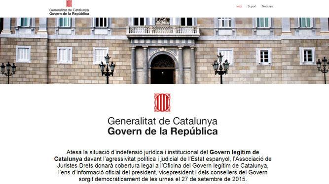 Captura de la página web anunciada por Puigdemont