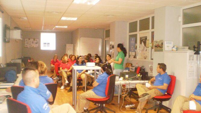 Una clase, en 2014, de un taller de empleo de la Mancomunidad de Fomento y Desarrollo del Aljarafe, en Gelves.