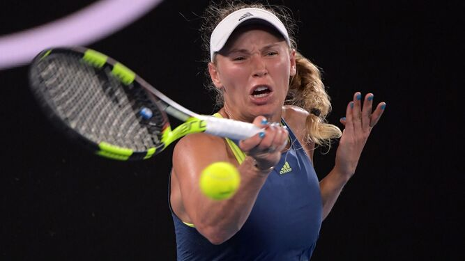 Wozniacki, durante la final en Melbourne